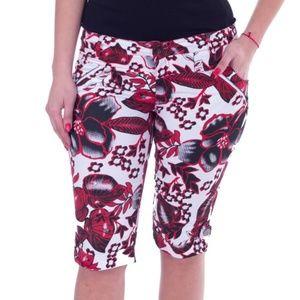 Knee Long Capri Shorts, CP-1309, Red